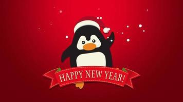 closeup animado texto de feliz ano novo, pinguim engraçado acenando sobre fundo vermelho video