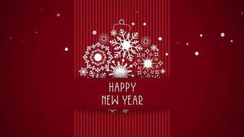 animierte Nahaufnahme Frohes Neues Jahr Text, weiße Schneeflocken auf rotem Hintergrund