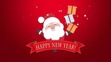 Texte de bonne année gros plan animé, père noël avec coffrets cadeaux