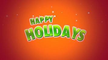 closeup animado texto de boas festas em fundo laranja