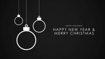 closeup animado texto de feliz ano novo e feliz natal, bolas brancas em fundo preto