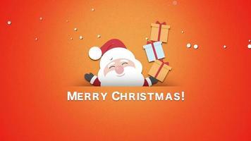 closeup animado texto de feliz natal, papai noel com caixas de presente video