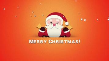 animado close up texto de feliz natal, papai noel com sinos