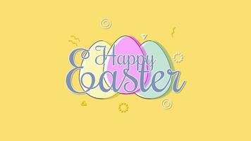closeup animado feliz texto de páscoa e ovos em fundo amarelo