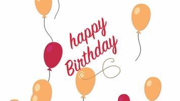closeup animado texto de feliz aniversário com balão colorido no fundo do feriado