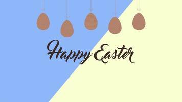 closeup animado texto feliz páscoa e ovos em vertigem amarela e azul