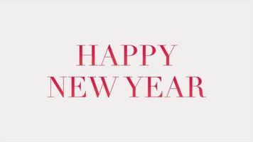 texto de introducción de animación feliz año nuevo sobre fondo blanco de moda y minimalismo video