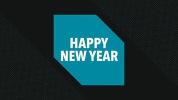 Animation text Happy New Year on black fashion and minimalism background with shape video