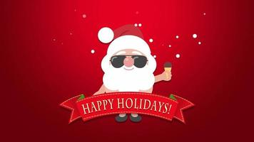 Animated close up Happy Holidays text, Santa Claus with ice cream video