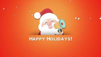 Animated closeup Happy Holidays text with Santa Claus video