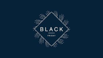 texto de introdução de animação black friday sobre fundo azul de moda e minimalismo com linhas brancas