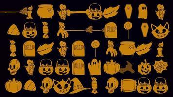 animação de fundo de halloween com abóboras, caveiras, caixões, fantasmas