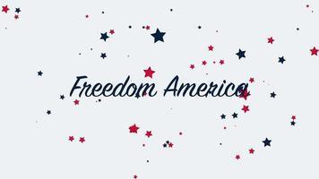 animierte Nahaufnahme Text Freiheit Amerika auf Urlaub Hintergrund, Nation Tag der USA