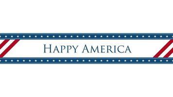 texto closeup animado América feliz no fundo do feriado, dia da independência dos EUA
