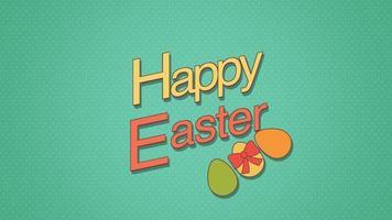 closeup animado feliz texto de páscoa e ovos em fundo verde