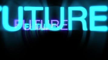 Motion of neon text Future in dark background