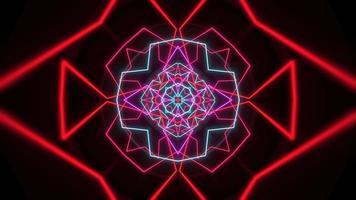 mouvement abstrait néon forme géométrique dans l'espace, fond de club laser video