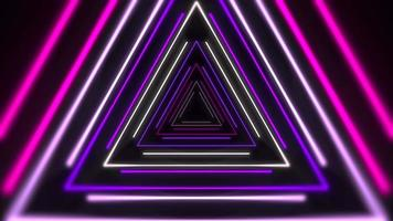 Motion colorful laser neon triangles, abstract background video