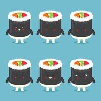 lindo personaje de rollo de sushi con expresiones vector