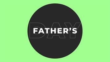 animação texto dia dos pais sobre fundo de moda e minimalismo verde com círculo preto geométrico