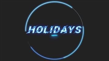 Animationstext frohe Feiertage und Bewegung abstrakte geometrische Kreise, Disco-Hintergrund
