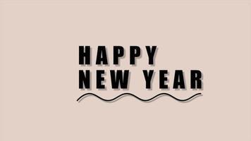 texto de animação feliz ano novo em fundo de moda marrom e minimalismo com onda