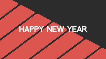 texto de introdução de animação feliz ano novo em fundo de moda negra e minimalismo com listras vermelhas