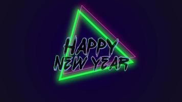 Animation text Happy New Year on fashion and club background with glowing red and green triangles video