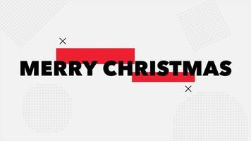 animação texto feliz natal em fundo de moda branca e minimalismo com padrão geométrico