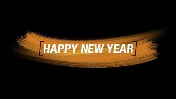 texto de introdução de animação feliz ano novo em moda verde e fundo de pincel video