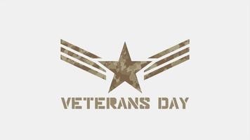 animação texto dia dos veteranos em fundo militar com selos e estrelas video