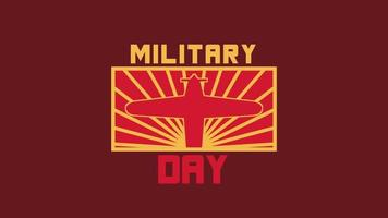 Animation text Military Day on military background with stamp and airplane video