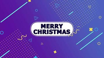 Animation text Merry Christmas and motion abstract geometric shapes, Memphis background video