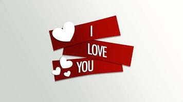 Animated closeup I Love You text and motion romantic small white hearts on Valentines day background