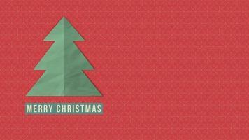 closeup animado texto de feliz natal, árvore de natal branco em fundo vermelho