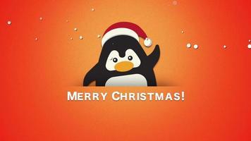 closeup animado texto de feliz natal, pinguim engraçado acenando em fundo laranja
