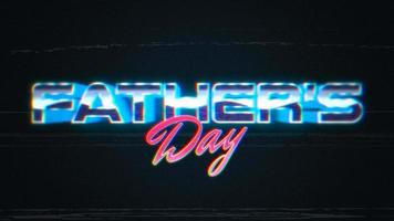 animação intro texto dia dos pais e linhas de ruído na galáxia, fundo retrô de férias