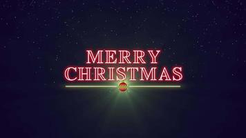 closeup animado com texto de feliz natal com bola de natal e estrelas no fundo do feriado de inverno video