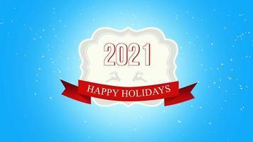 Gros plan animé de joyeuses fêtes et texte 2021, voler des flocons de neige blancs et des cerfs sur fond de neige avec bannière rétro video