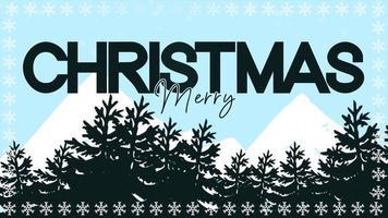 closeup animado com texto de feliz natal e paisagem de inverno com árvores e montanhas no fundo do feriado