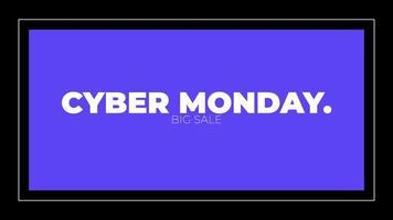 animação de introdução de texto cibernética segunda-feira sobre moda negra e fundo de minimalismo com moldura azul geométrica video