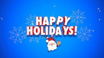 Animated close up Happy New Year text and Santa Claus with gift boxes on blue background video