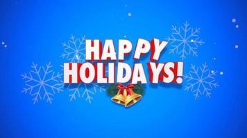 animado close-up texto de boas festas e sinos de natal em fundo azul