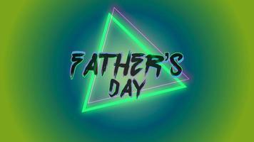 animação texto dia dos pais sobre fundo de moda e clube com triângulo verde brilhante