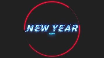 Animationstext frohes neues Jahr auf Mode- und Vereinshintergrund mit leuchtend rotem Kreis video