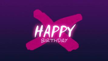 texto de introdução de animação feliz aniversário em fundo roxo moda e minimalismo com cruz geométrica