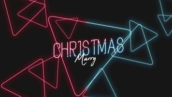 animação texto de introdução feliz natal sobre moda e plano de fundo do clube com triângulos azuis e vermelhos brilhantes