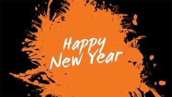 texto de animação feliz ano novo em moda laranja e fundo de pincel