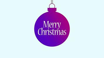 animado close-up texto de feliz natal, bola roxa com no texto