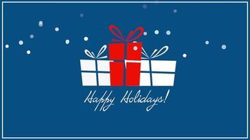 texto animado close-up de boas festas, três caixas de presente em fundo azul